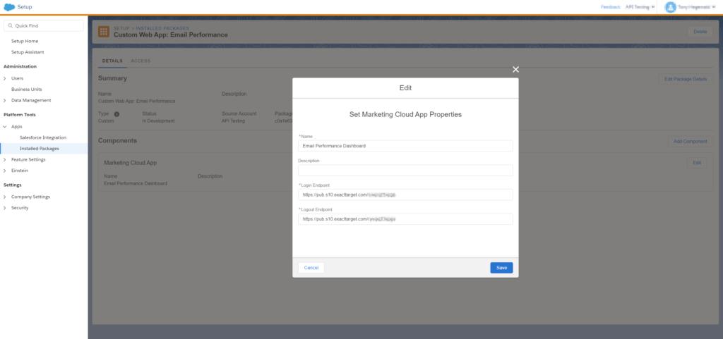 installed package marketing cloud app
